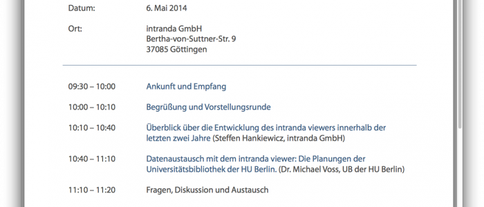 Tagesordnung intranda viewer Tag 2014