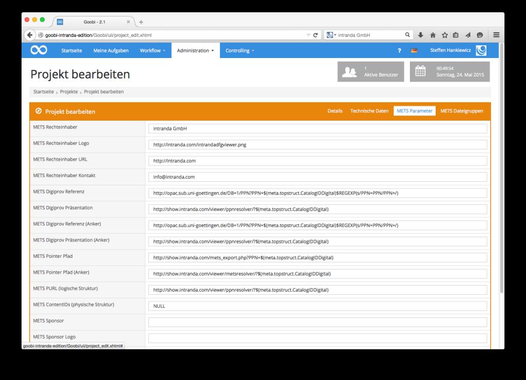Goobi - METS-Parameter des Digitalisierungsprojekts
