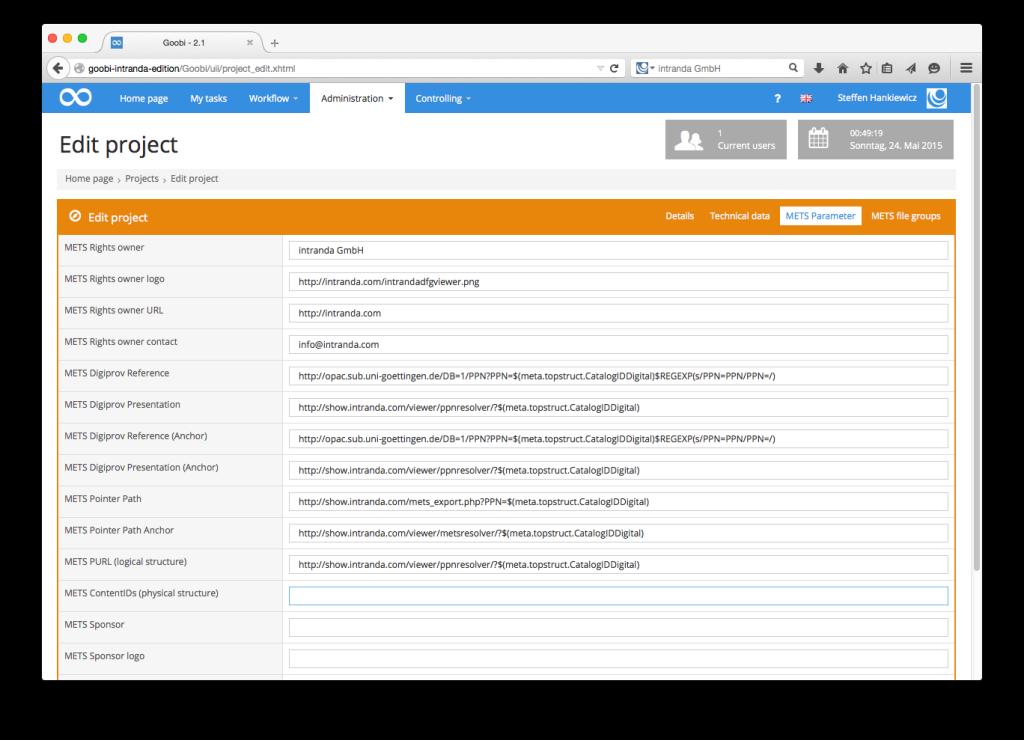 Goobi - METS-Parameters of a digitisation project