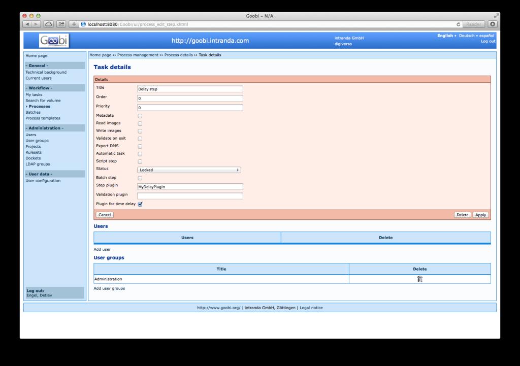 Goobi 2.0 Release Notes Time Delay Plugin