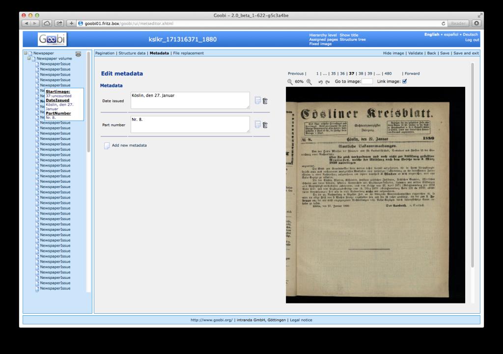 Goobi 2.0 Release Notes Newspaper Digitisation