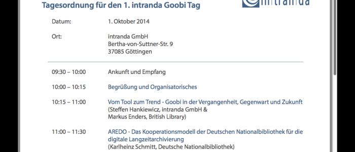 Tagesordnung Anwendertreffen intranda Goobi Tag 2014