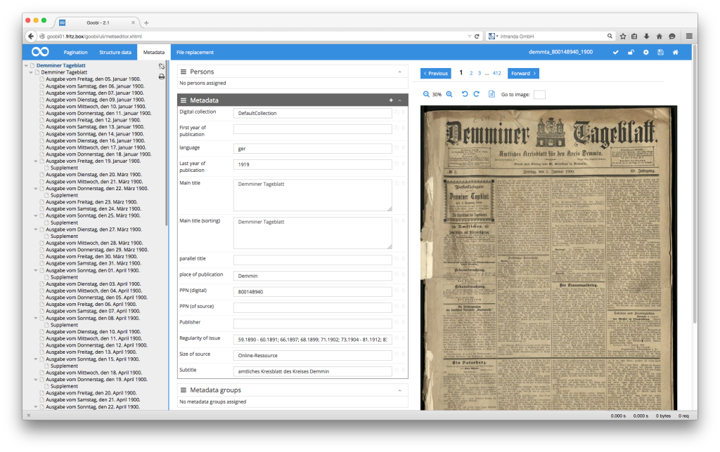 Goobi Production 2.1 – Metadata fields in Goobi METS Editor displayed in more compact form