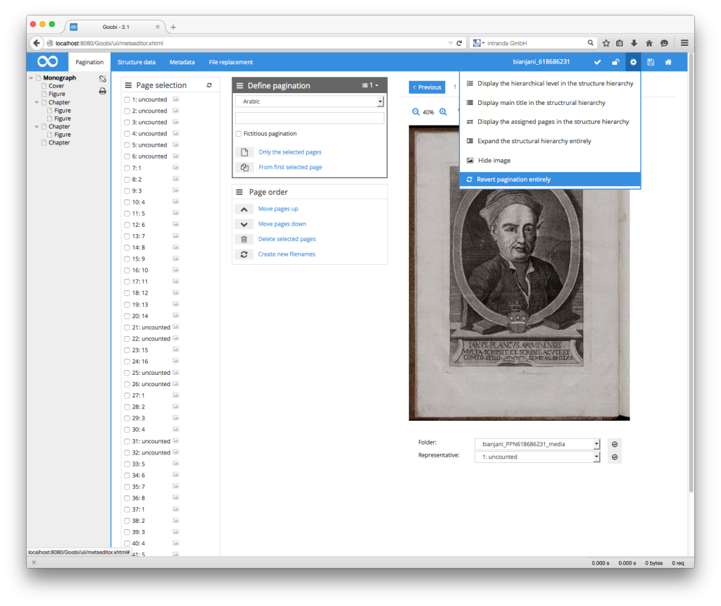 Goobi Production 2.1 – Complete pagination reset within METS Editor