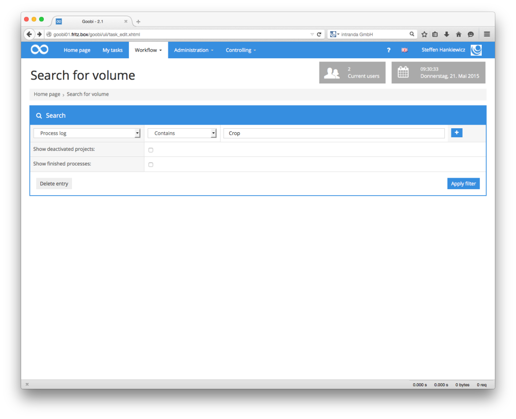 Goobi Production 2.1 – Searching the process log for user notes or external system messages