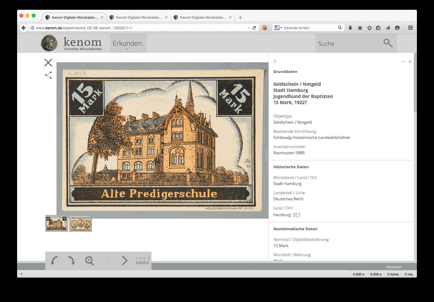 Auch Notgeld verschiedener Städte ist im Münzportal Kenom online einsehbar