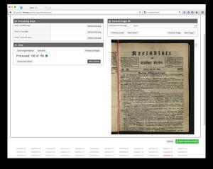 Das Goobi-Plugin LayoutWizzard erlaubt die Verschiebung der Buchpfalz für das anschließende Croppen der Bilder
