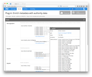 Anreicherung von Metadaten mit Normdaten als Goobi-Plugin mit Anzeige der Details aus der Normdatenbank GND