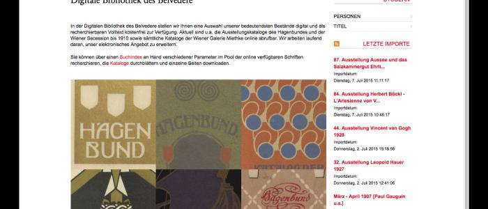 Die digitale Bibliothek der Belvedere Galerie in Wien