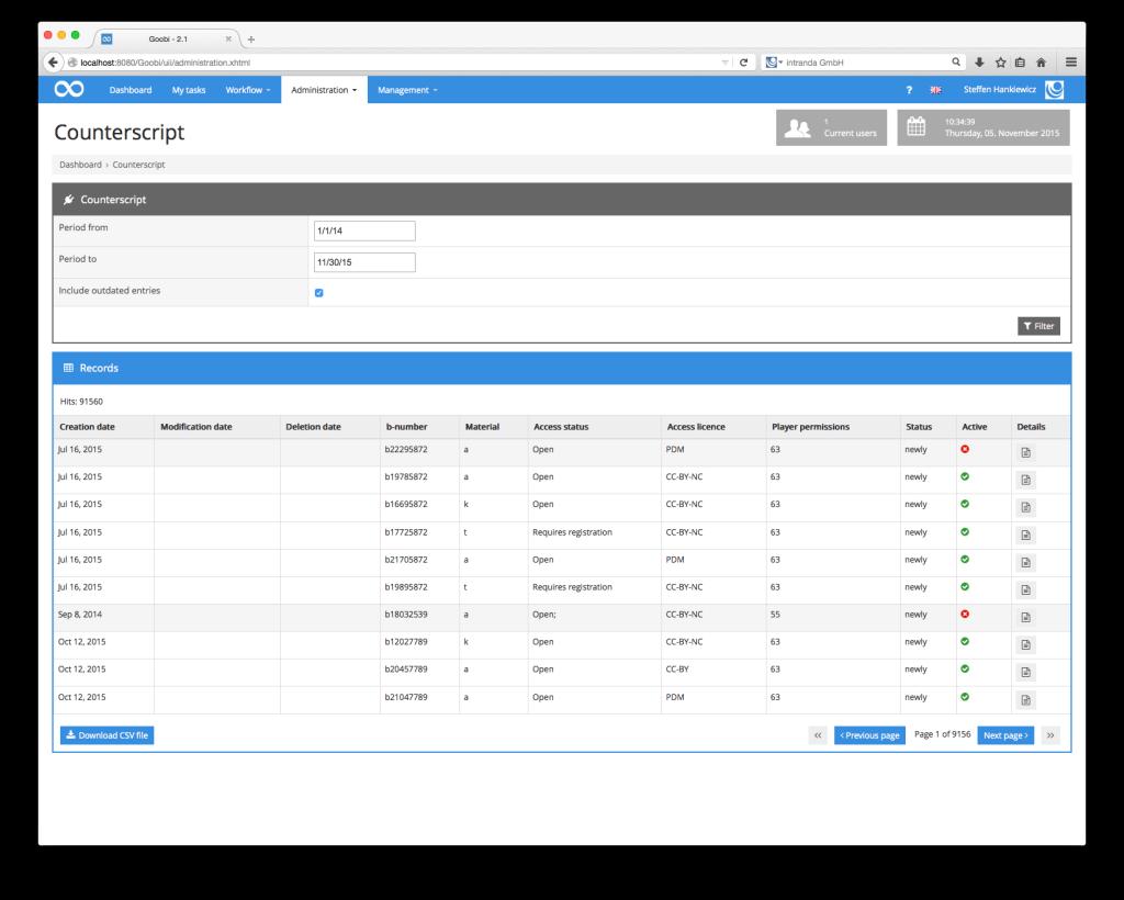 Steuerung von Workflows in Digitalisierungsprojekten - Goobi 2.2: Administration-Plugin für die Erstellung eines Überblicks über Access Conditions und deren Historie