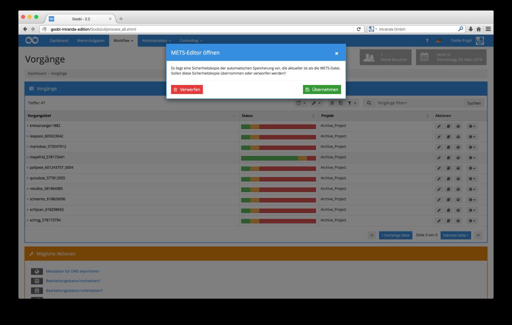 Steuerung von Workflows in Digitalisierungsprojekten - Goobi 2.2: Automatisches Speichern im METS-Editor