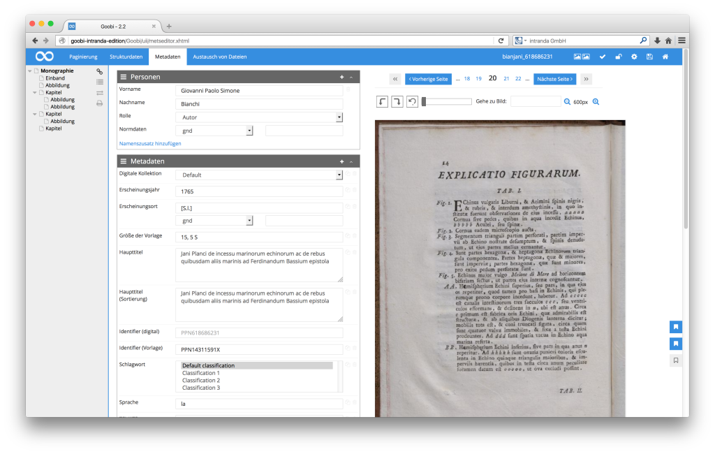Workflow management for digitisation projects - Goobi 2.2: Set bookmarks in the METS Editor
