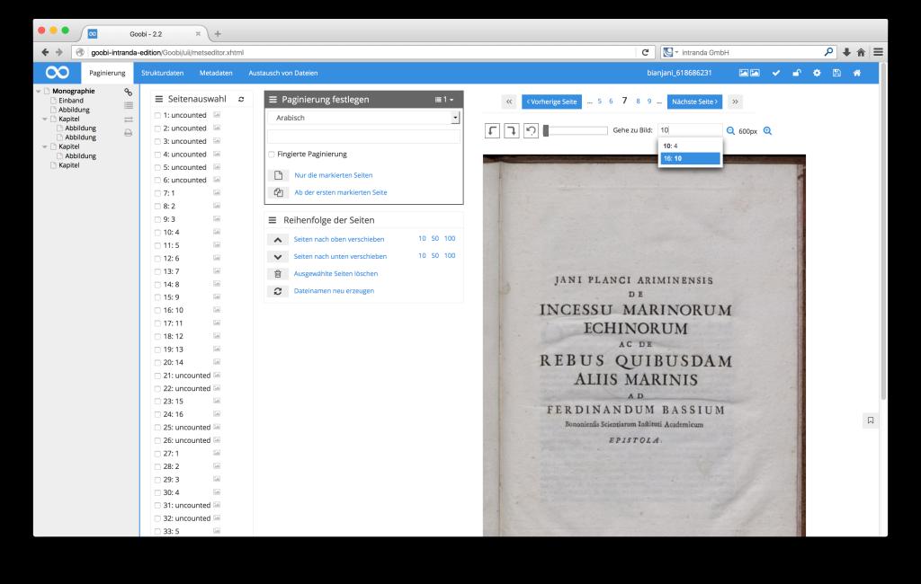 Steuerung von Workflows in Digitalisierungsprojekten - Goobi 2.2: Direktes Anspringen paginierter Seiten im Metadateneditor von Goobi.Production