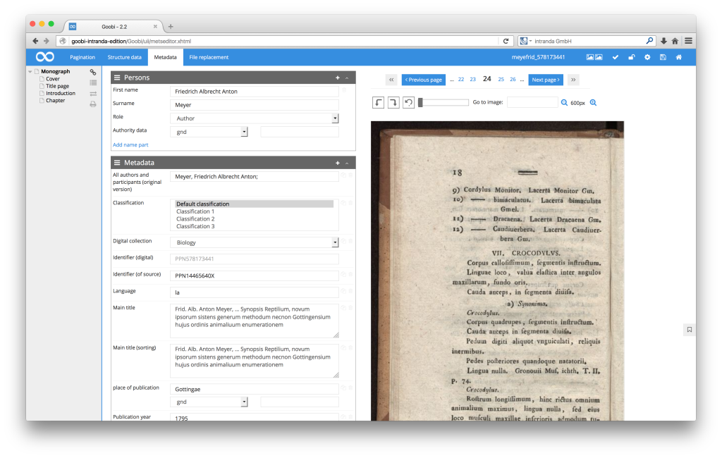 Workflow management for digitisation projects - Goobi 2.2: New image display format in the METS Editor