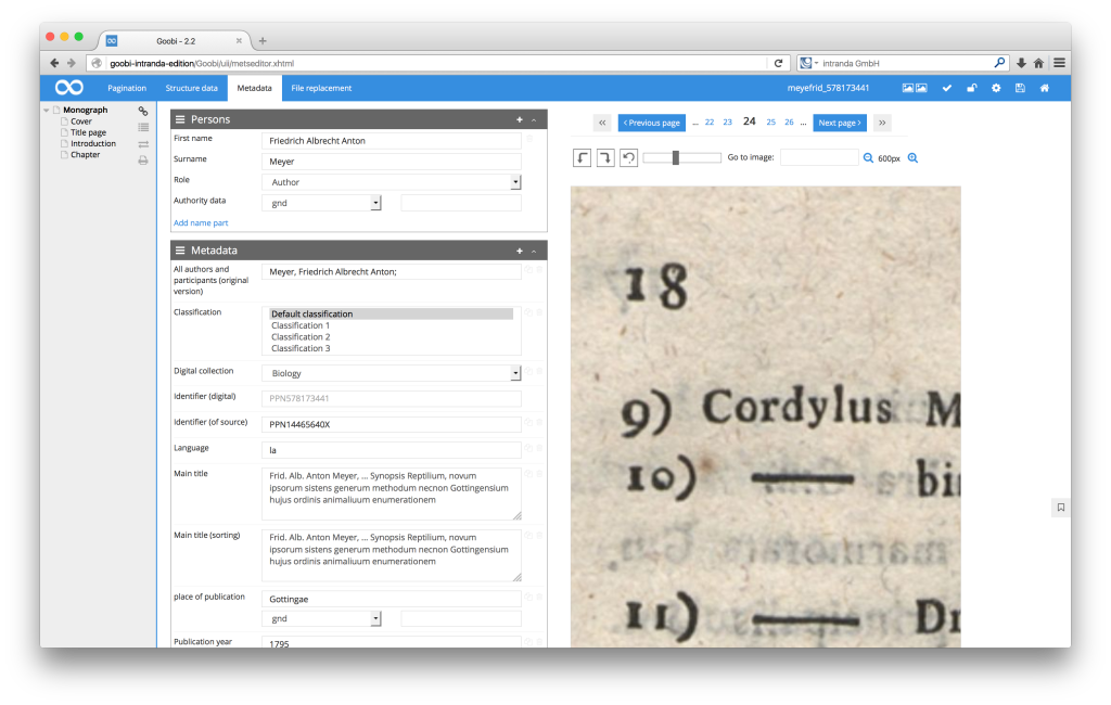 Workflow management for digitisation projects - Goobi 2.2: Deep zoom option in the METS Editor image display