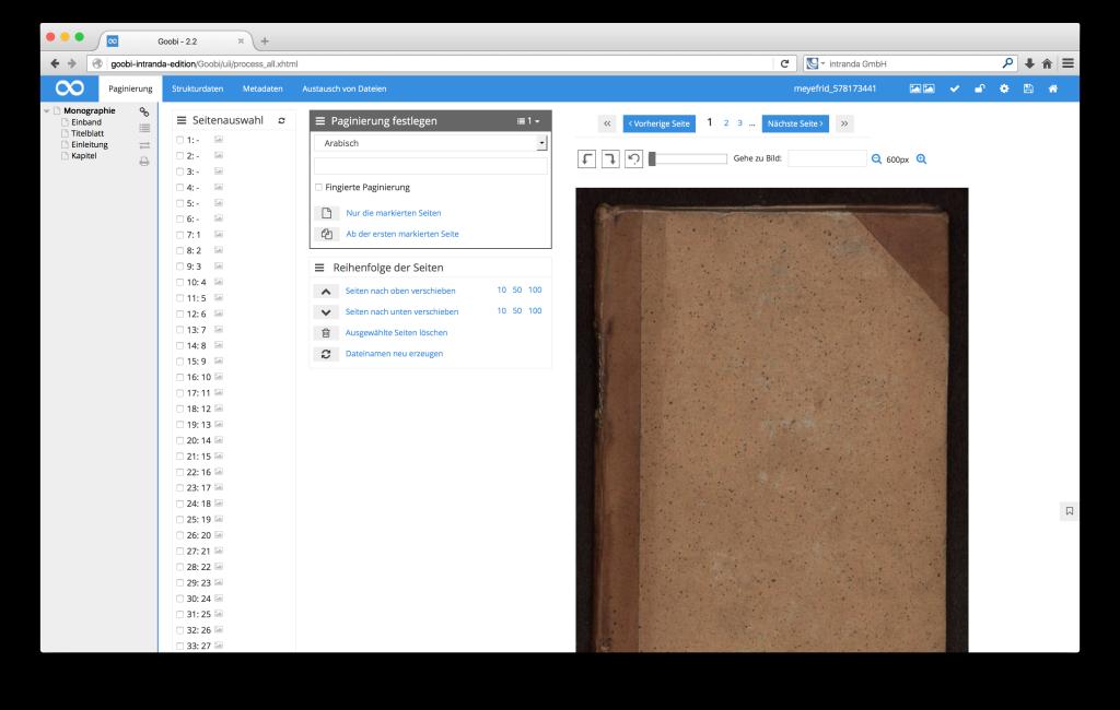 Steuerung von Workflows in Digitalisierungsprojekten - Goobi 2.2: Einfacheres Verschieben von Bildern im METS-Editor