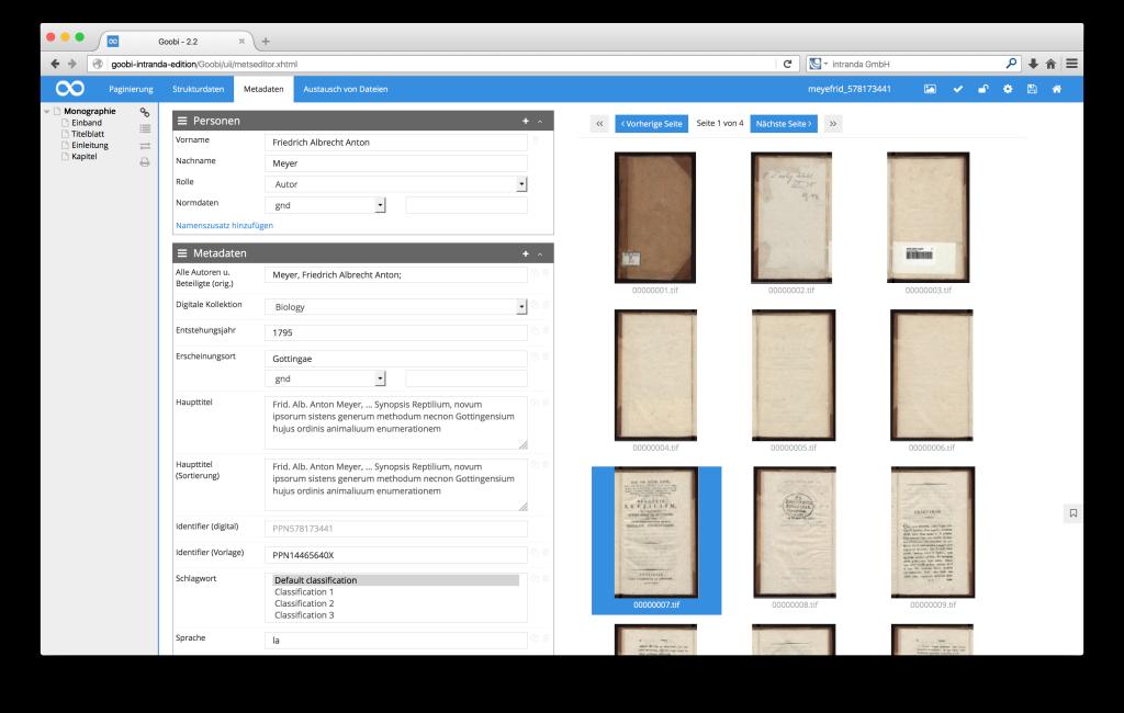 Steuerung von Workflows in Digitalisierungsprojekten - Goobi 2.2: Thumbnails im METS-Editor