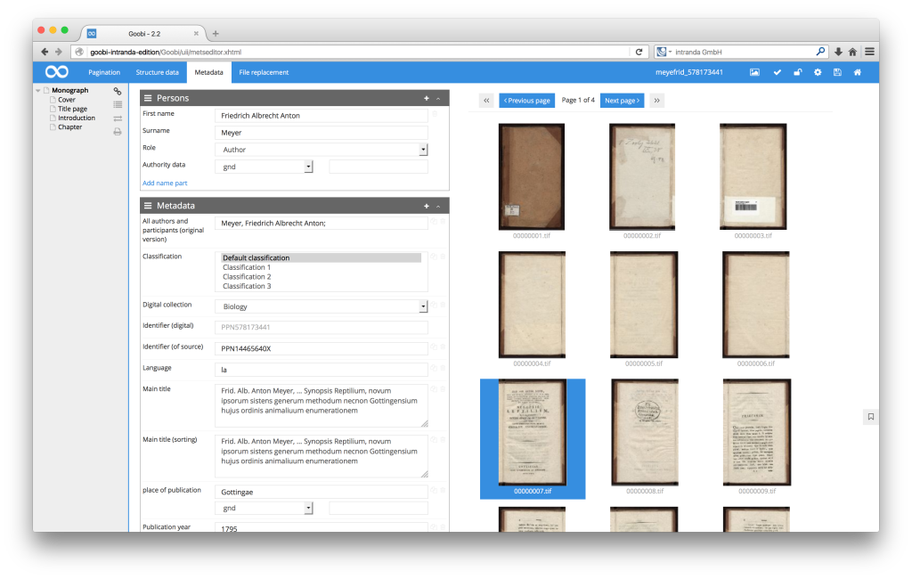 Workflow management for digitisation projects - Goobi 2.2: Thumbnails in the Goobi METS-Editor