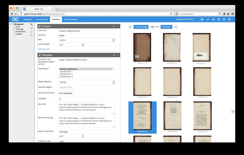 Workflow management for digitisation projects - Goobi 2.2: Thumbnails in the Goobi METS-Editor