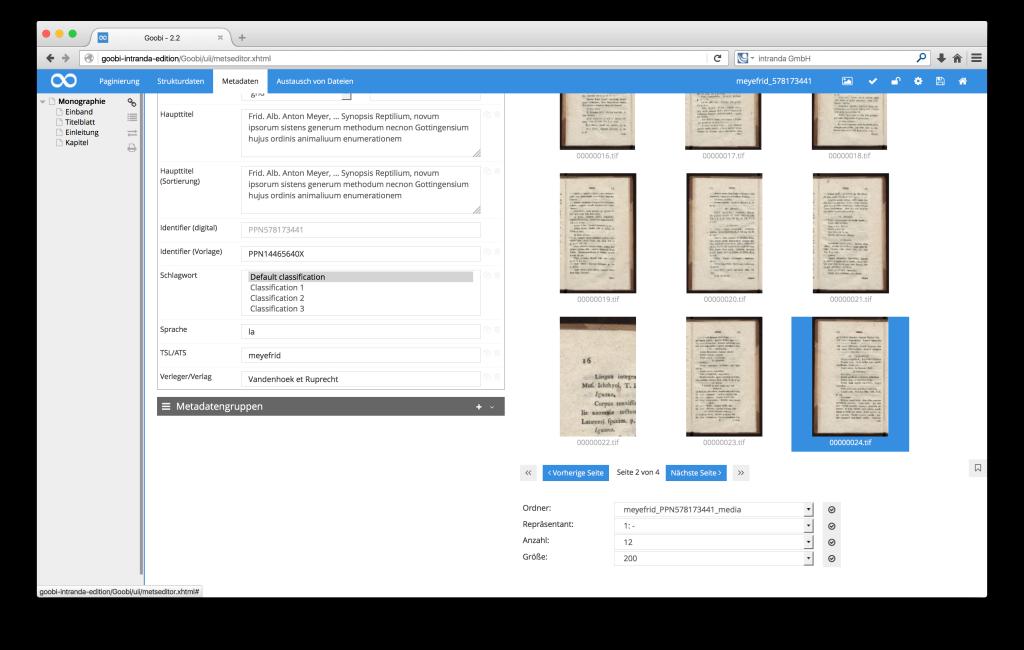 Steuerung von Workflows in Digitalisierungsprojekten - Goobi 2.2: Dynamischer Zoom über einem Thumbnail in der Seitenvorschau des METS-Editors