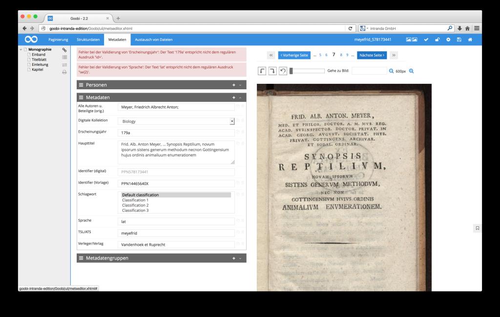 Steuerung von Workflows in Digitalisierungsprojekten - Goobi 2.2: Neue Möglichkeiten der Validierung innerhalb des METS-Editors in Goobi.Production
