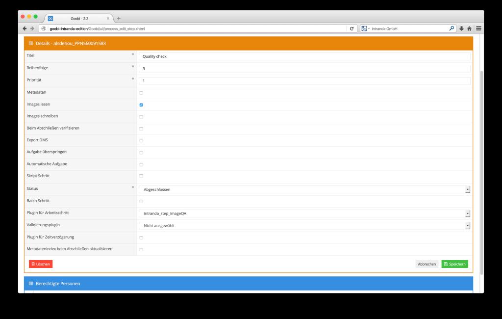 Steuerung von Workflows in Digitalisierungsprojekten - Goobi 2.2: Plugins für Arbeitsschritte im Drop-Down auswählbar