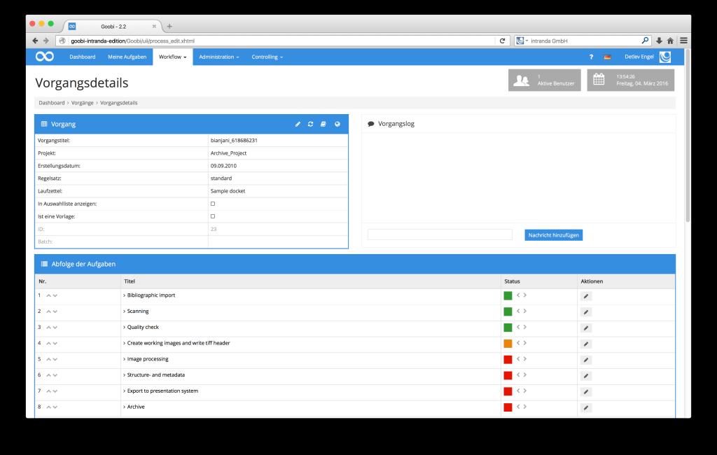Steuerung von Workflows in Digitalisierungsprojekten - Goobi 2.2: Zutritt zum METS-Editor und Durchführung des Exports in die digitale Bibliothek direkt aus den Vorgangsdetails