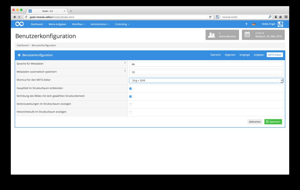 Steuerung von Workflows in Digitalisierungsprojekten - Goobi 2.2: Erweiterung der Benutzerkonfiguration