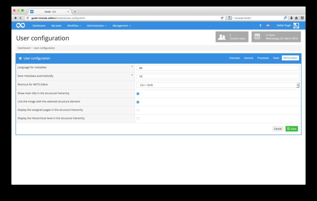 Workflow management for digitisation projects - Goobi 2.2: Additional user configuration options