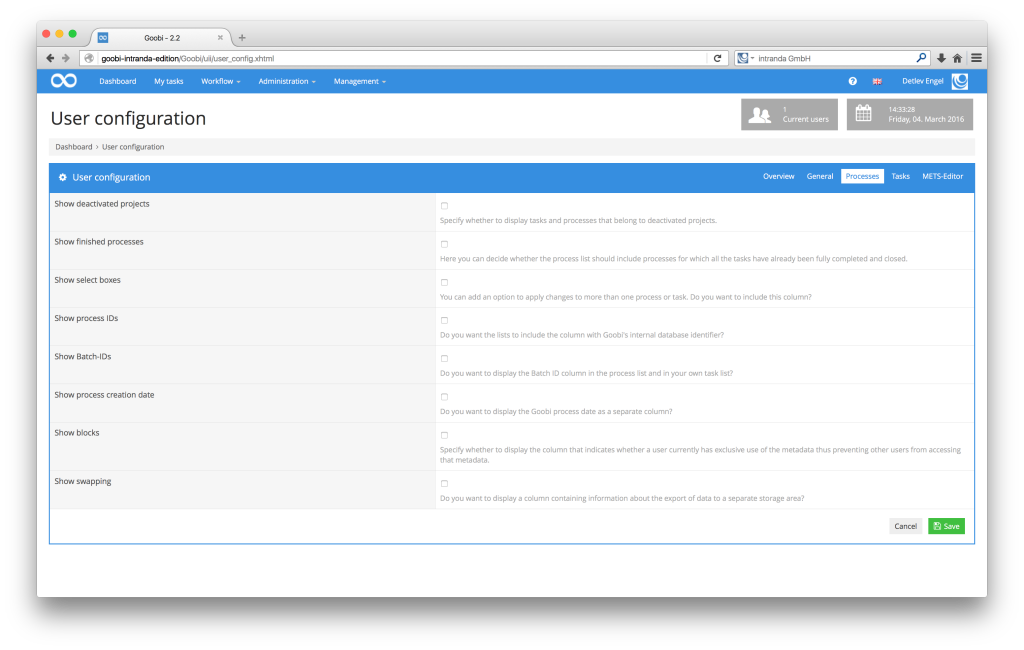 Workflow management for digitisation projects - Goobi 2.2: Additional user configuration options with help texts