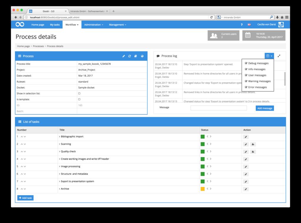 Digitisation workflow tracking software - Processlog 02