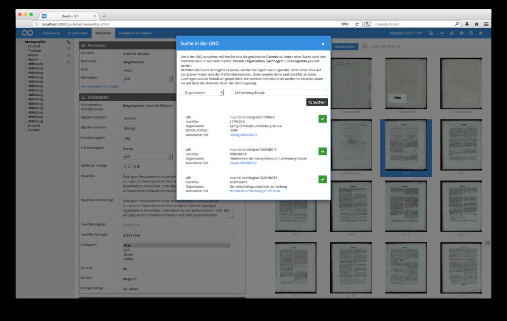 Goobi 3.0 - Geonames / GND und andere Normdatenbanken als Metadatenplugins