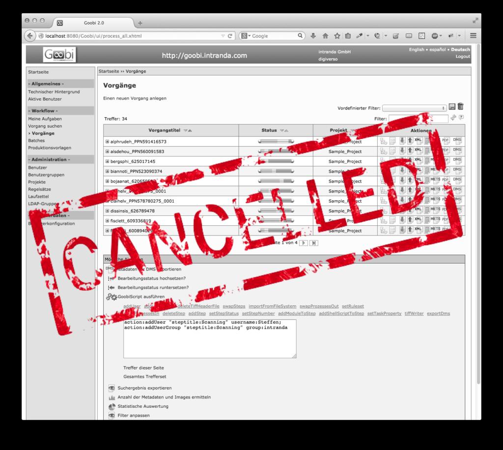 Goobi 3.0 - Alte Nutzeroberfläche nicht mehr enthalten