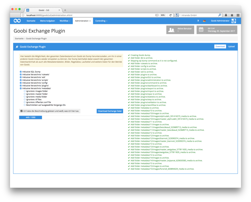 Goobi 3.0 - Neues Exchange Plugin für den Export