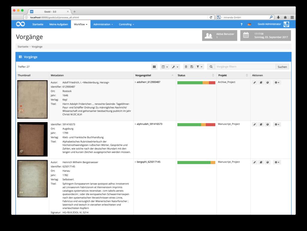 Goobi 3.0 - Erweiterte Anzeige innerhalb der Vorgangsliste