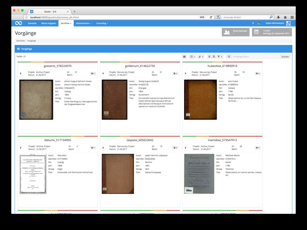 Goobi 3.0 - Neuer Gridview für Vorgänge
