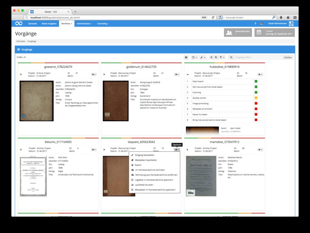 Goobi 3.0 - Neuer Gridview für Vorgänge mit Workflowdetails