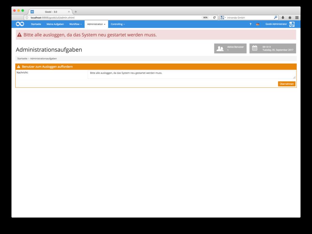 Goobi 3.0 - Neuer Adminbereich zum Setzen einer globalen wichtigen Nachricht
