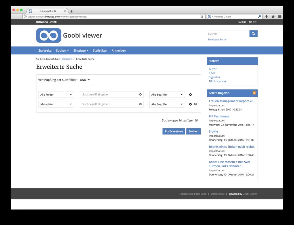 Goobi viewer 3.2 - Mächtige erweiterte Suche