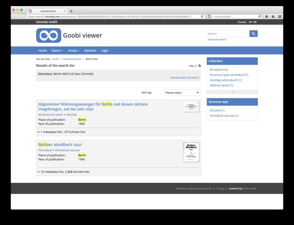 Goobi viewer 3.2 - Highlighting von Suchbegriffen nach der Suche in den digitalen Sammlungen
