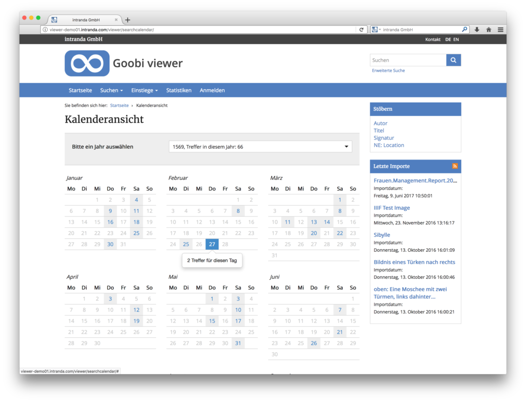 Goobi viewer 3.2 - Kalenderansicht