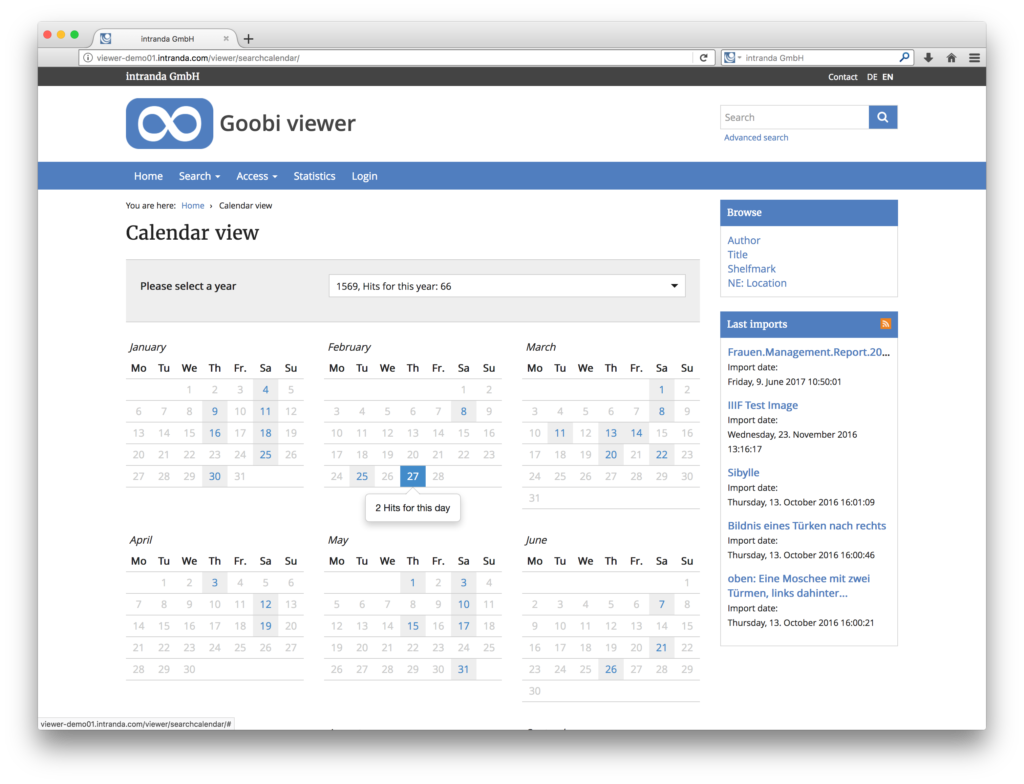Goobi viewer 3.2 - Calendar view