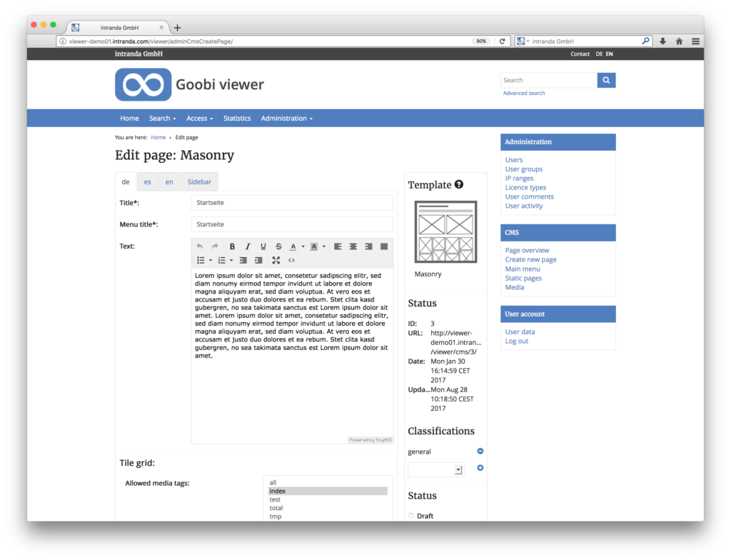 Goobi viewer 3.2 - Extension of the content management system for the digital collections