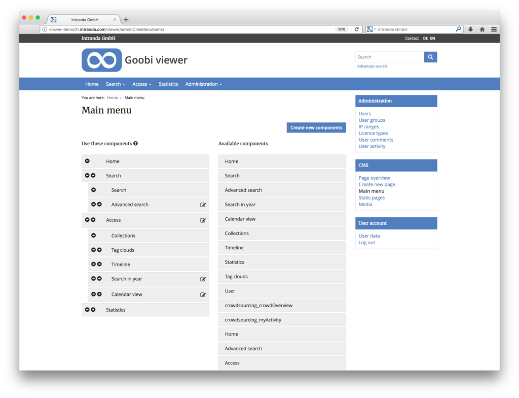 Goobi viewer 3.2 - Menu configuration inside of the content management system for the digital collections