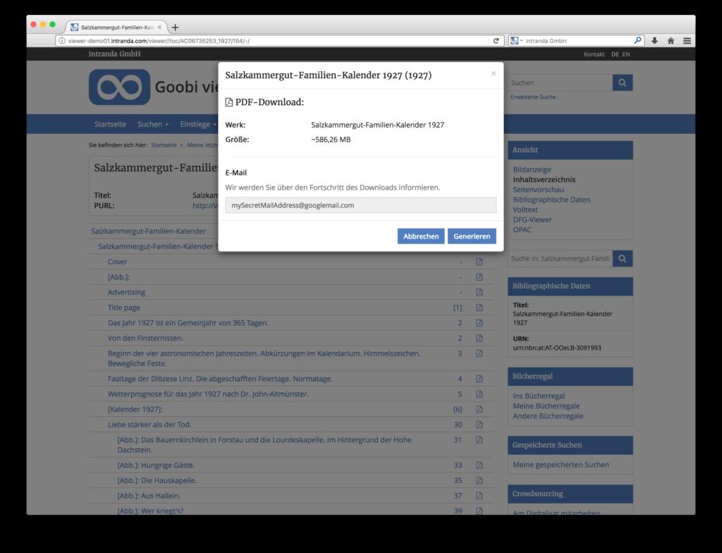 Goobi viewer 3.2 - PDF Download mit Größenberechnung für Digitalisate