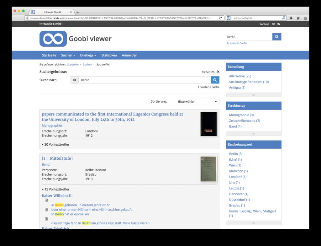 Goobi viewer 3.2 - Sidebar neben den Suchtreffern